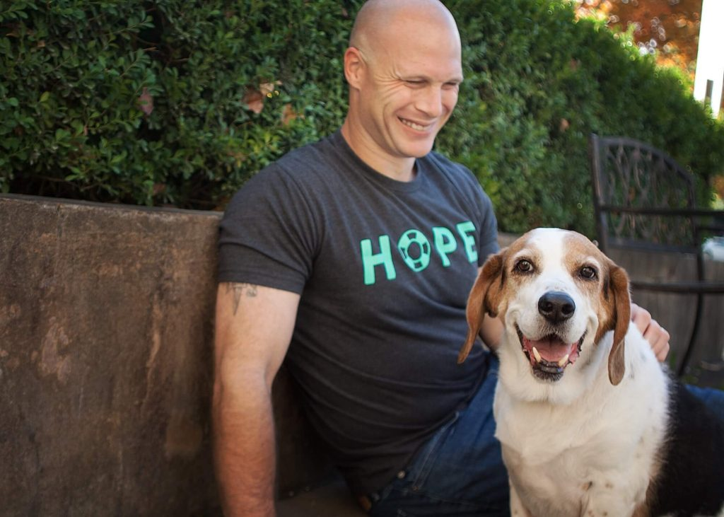 Cody Higgs LPC and dog therapy assistant Edge provide anxiety treatement in Franklin TN